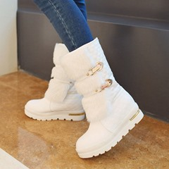 Shoespie Stylish Slip-On Round Toe Snow Ankle Boots