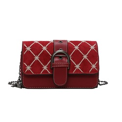 Shoespie Embroidery PU Geometric Rectangle Crossbody Bags