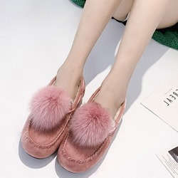 Shoespie Stylish Flat Round Toe Pompon Casual Loafers