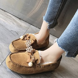 Shoespie Casual Bow Slip-On Round Toe Warm Loafers