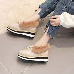 Shoespie Trendy Slip-On Wedge Square Toe Loafers