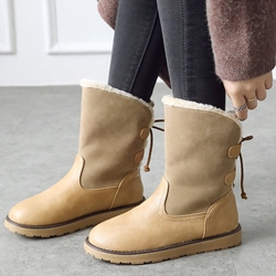 Shoespie Casual Lace-Up Back Round Toe Warm Ankle Boots