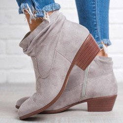 Shoespie Trendy Chunky Heel Side Zipper Round Toe Ankle Boots