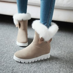 Shoespie Warm Slip-On Hidden Elevator Heel Ankle Snow Boots