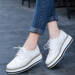 Shoespie Sexy Lace-Up Round Toe Platform Loafers