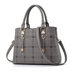 Shoespie Plaid PU Knitted Square Tote Bags