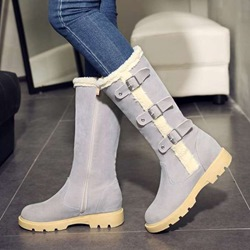 Shoespie Trendy Side Zipper Round Toe Warm Knee High Boots