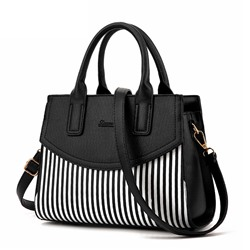 Shoespie Thread Color Block PU Stripe Square Tote Bags