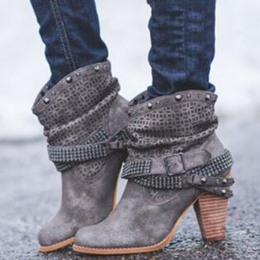 Shoespie Stylish Chunky Heel Round Toe Ankle Boots