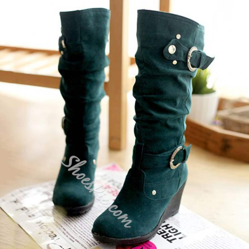 Shoespie Stylish Slip-On Round Toe Wedge Knee High Boots