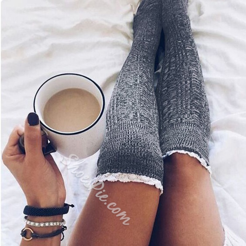Lace Side Winter Casual Stockings
