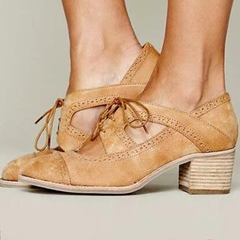 Shoespie Stylish Round Toe Chunky Heel Lace-Up England Loafers