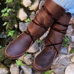 Shoespie Trendy Slip-On Round Toe Lace Up Ankle Boots