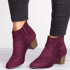 Shoespie Stylish Chunky Heel Side Zipper Casual Ankle Boots