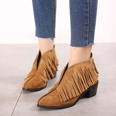 Shoespie Sexy Slip-On Pointed Toe Fringe Ankle Boots
