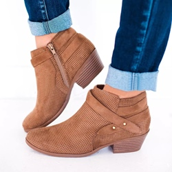 Shoespie Trendy Plain Side Zipper Round Toe Ankle Boots