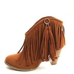 Shoespie Stylish Slip-On Round Toe Chunky Heel Fringe Ankle Boots