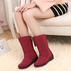 Shoespie Stylish Wedge Heel Round Toe Ankle Snow Boots