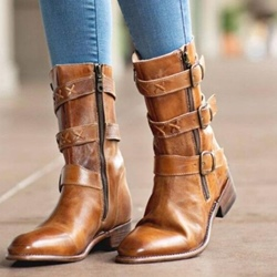 Shoespie Vintage Round Toe Block Heel Buckle Western Ankle Boots
