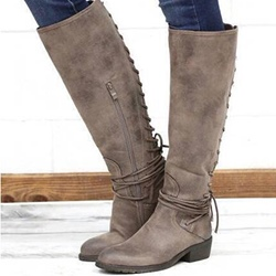 Shoespie Trendy Lace-Up Back Western Knee High Boots