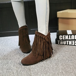 Shoespie Stylish Flat Slip-On Fringe Ankle Boots