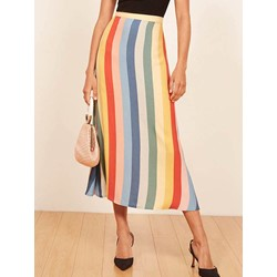 Knee-Length Color Block Pleated High-Waist Women's Skirt