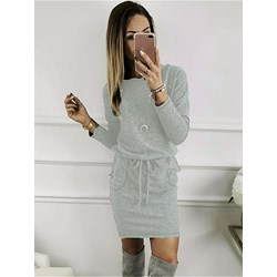 Lace-Up Above Knee Long Sleeve Regular Women's Casual Dress