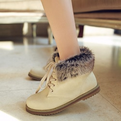 Shoespie Block Heel Round Toe Lace-Up Short Floss Ankle Boots