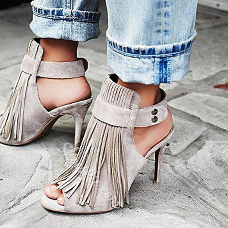 Shoespie Stylish Buckle Peep Toe Stiletto Heel Fringe Sandals