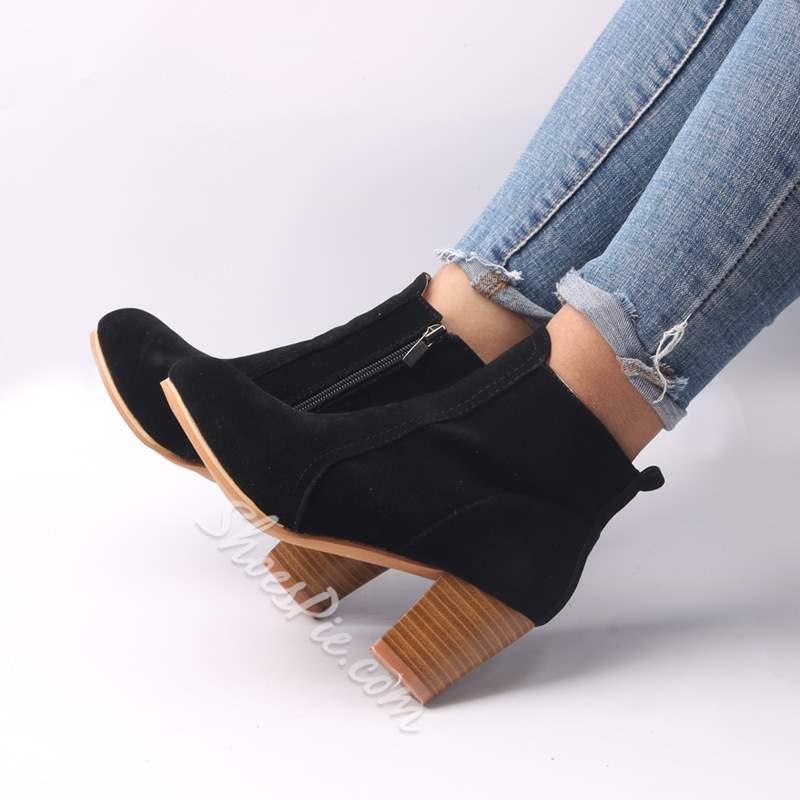 Shoespie Sexy Side Zipper Round Toe Chunky Heel Ankle Boots