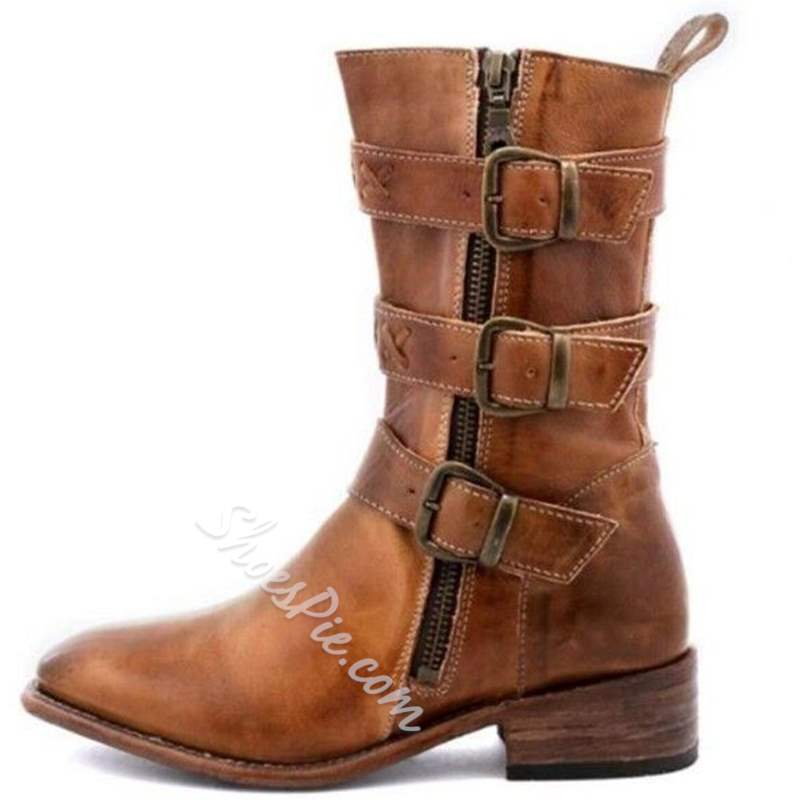 06ad64f5690a Shoespie Vintage Round Toe Block Heel Buckle Western Ankle Boots ...