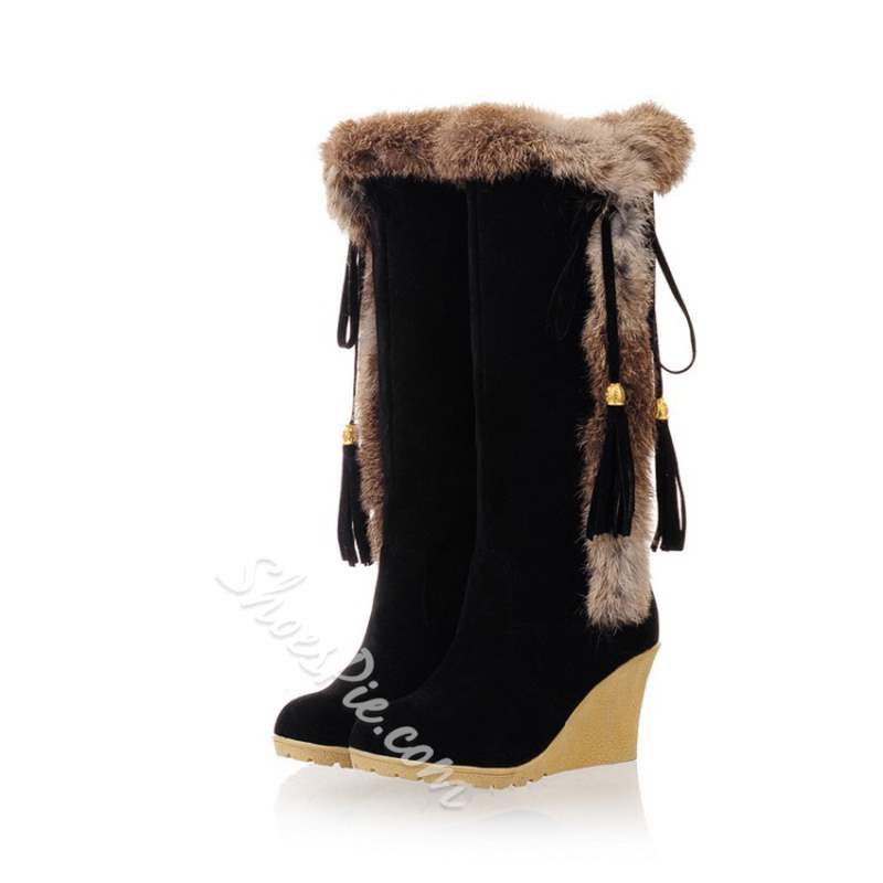 Shoespie Pointed Toe Wedge Heel Slip-On Knee High Boots