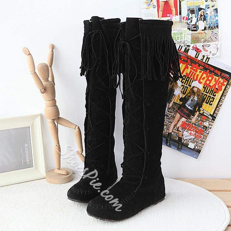 Shoespie Sexy Plain Lace-Up Round Toe Knee High Boots