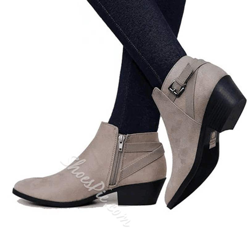 Shoespie Sexy Chunky Heel Side Zipper Buckle Ankle Boots
