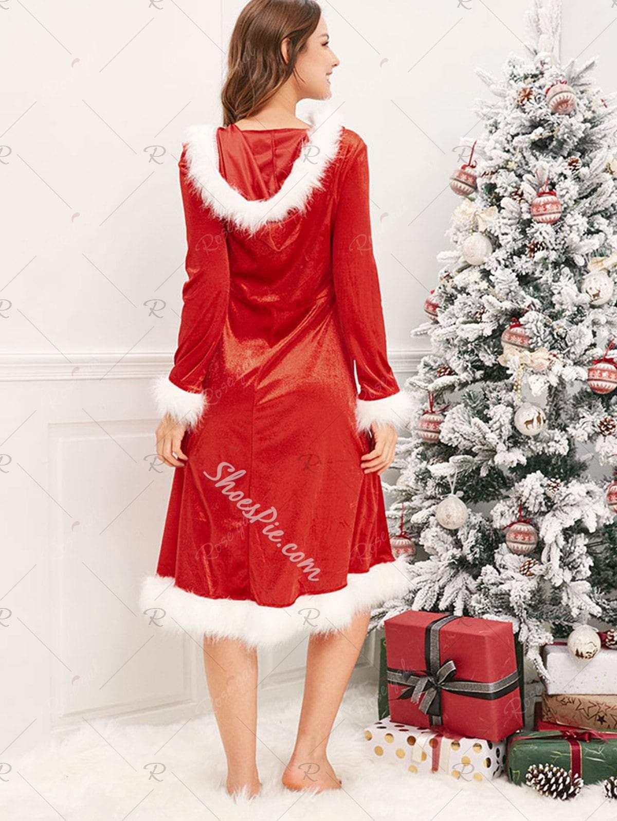 Christmas Hooded Patchwork Pullover Women's Maxi Dress