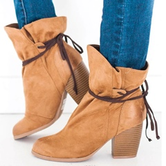 Shoespie Stylish Lace-Up Round Toe Chunky Heel Ankle Boots
