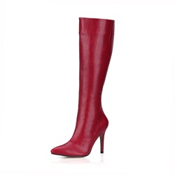 Shoespie Side Zipper Pointed Toe Stiletto Heel Knee High Boots
