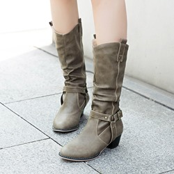 Shoespie Stylish Round Toe Slip-On Buckle Knee High Boots