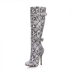 Shoespie Serpentine Side Zipper Buckle Stiletto Heel Knee High Boots