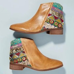 Shoespie Vintage Block Heel Round Toe Side Zipper Ankle Boots