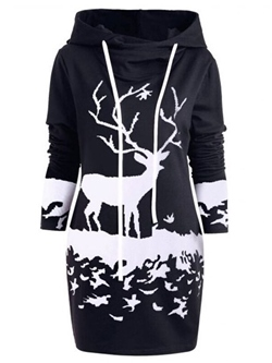 Hooded Long Sleeve Casual Women's Bodycon Dress