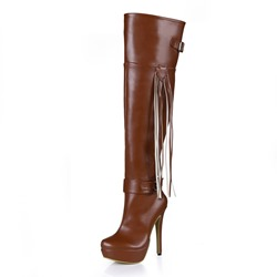Shoespie Sexy Round Toe Stiletto Heel Knee High Boots