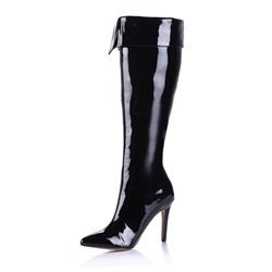 Shoespie Side Zipper Pointed Toe Short Floss Knee High Boots