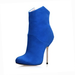 Shoespie Stylish Back Zip Round Toe Short Floss Ankle Boots