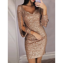 Long Sleeve V-Neck Spring Women's Bodycon Dress