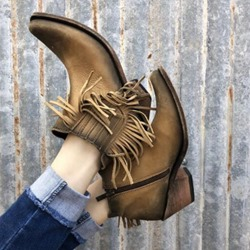 Shoespie Sexy Round Toe Chunky Heel Fringe Ankle Boots