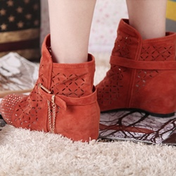 Shoespie Slip-On Hidden Elevator Heel Round Toe Buckle Ankle Boots