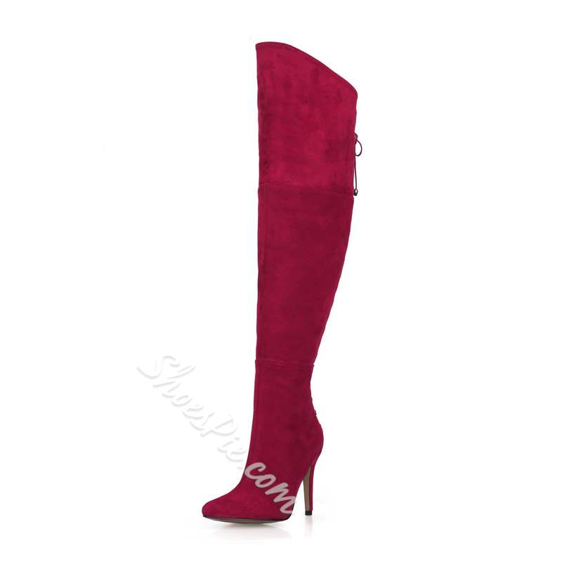 Shoespie Trendy Side Zipper Pointed Toe Thigh High Boots