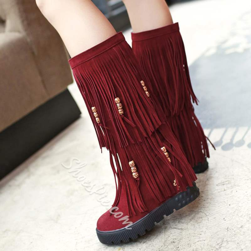 Shoespie Stylish Hidden Heel Slip-On Fringe Knee High Boots
