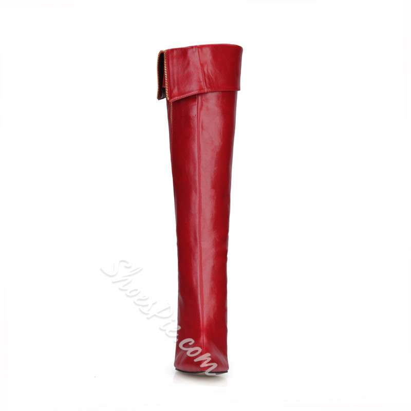 Shoespie Sexy Pointed Toe Stiletto Heel Side Zipper Knee High Boots